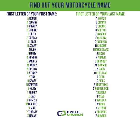 name for motorcycle